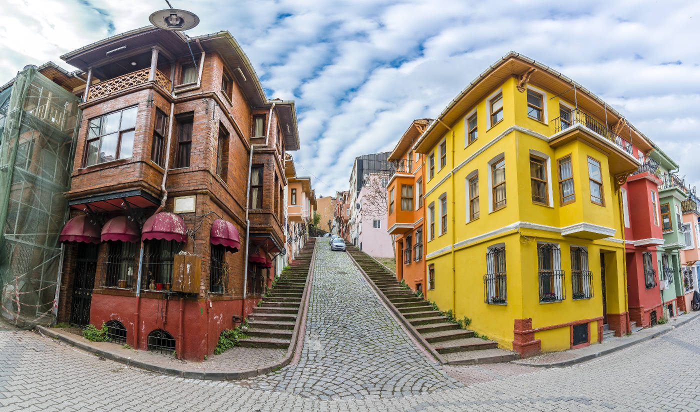 Balat district street view in Istanbul.